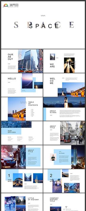 欧美风极简风格企业介绍企业宣传画册产品发布品牌宣传商务汇报工作汇报数据分析商务图片展示等PPT模板