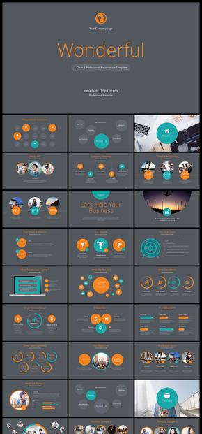 【橙色】欧美风 简约风 公司企业会议 总结 计划 分析 企业介绍 企业宣传 商业创业计划书PPT模板