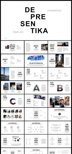 欧美风极简风商务风杂志风企业宣传企业介绍电子画册广告宣传产品发布品牌宣传图片展示摄影摄像PPT模板