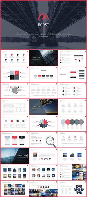 红色欧美风商务总结汇报计划年终总结新年计划企业宣传简介商业创业计划商务PPT模板