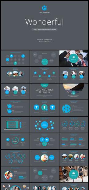【蓝色】欧美风 简约风 公司企业会议 总结 计划 分析 企业介绍 企业宣传 商业创业计划书PPT模板