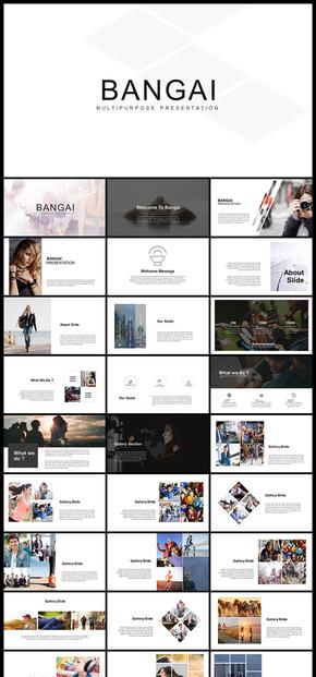欧美风简约风企业介绍企业宣传产品发布品牌宣传个人写真图片展示电子相册商务汇报等PPT模板