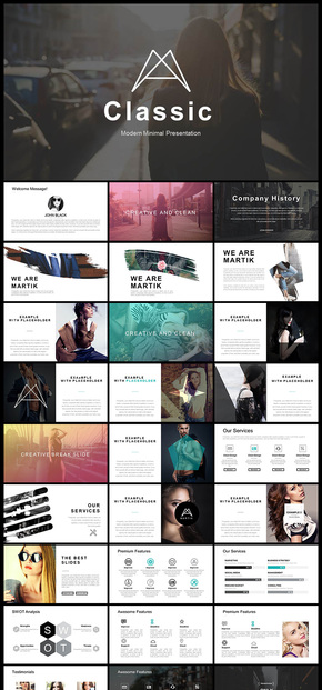 欧美风服装品牌宣传品牌介绍企业宣传企业介绍工作总结汇报PPT模板