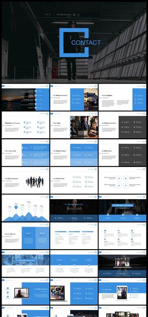欧美风蓝色商务风企业介绍商务汇报商业计划工作汇报计划总结年终总结新年计划数据分析数据统计PPT模板