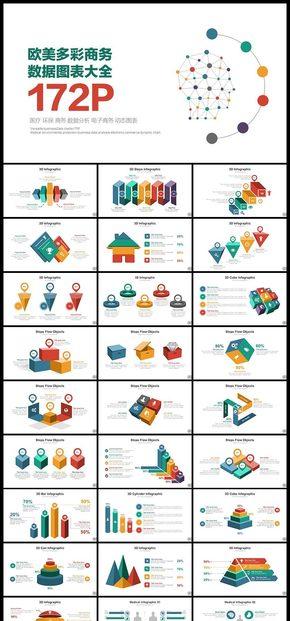 欧美多彩商务数据图表大全PPT模板