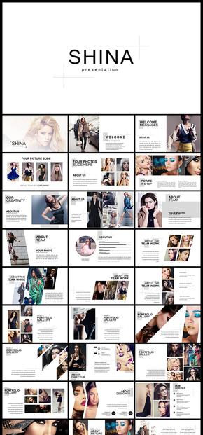 歐美風雜志風極簡風雜志攝影人物寫真圖片展示廣告宣傳等多用途PPT模板