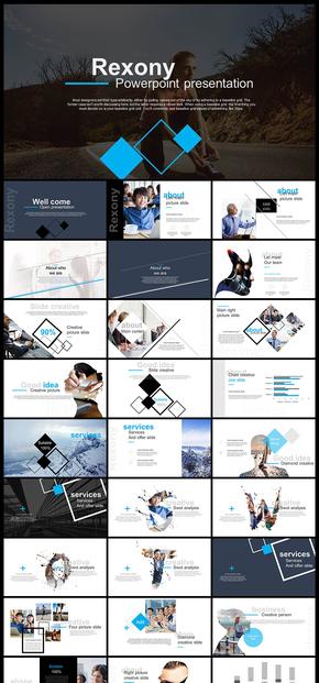 蓝色欧美风杂志风简约时尚文艺书法字体企业宣传画册企业介绍公司简介工作汇报计划总结摄影摄像PPT模板
