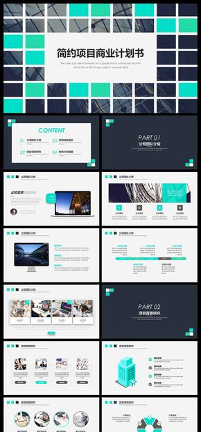 格子风简约项目商业计划书PPT模板