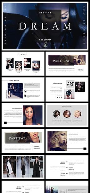 简约大气欧美风杂志风企业宣传画册PPT模板