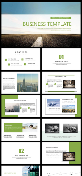 绿色经典欧美风商务通用PPT模板