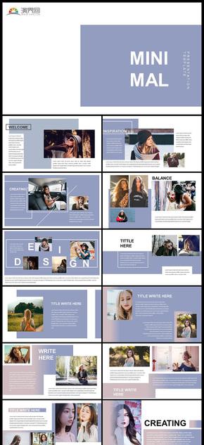时尚杂志风格产品发布品牌宣传宣传画册个人写真图片展示PPT模板