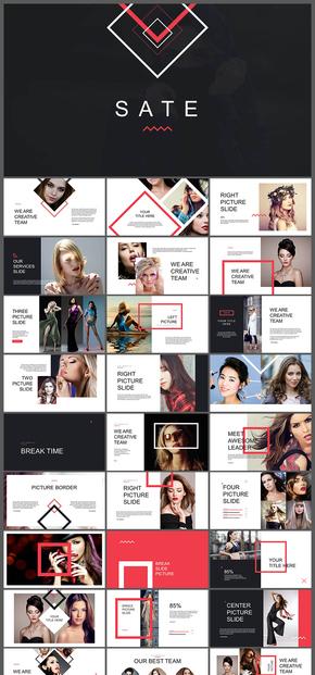 欧美风杂志风简约风格摄影摄像图片展示个人写真广告宣传宣传画册个人相册混排风格PPT模板