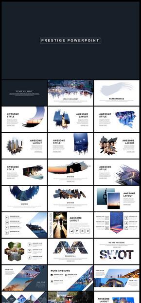 欧美风简约大气图片展示人物写真摄影摄像产品发布品牌宣传企业宣传企业介绍相册画册PPT模板