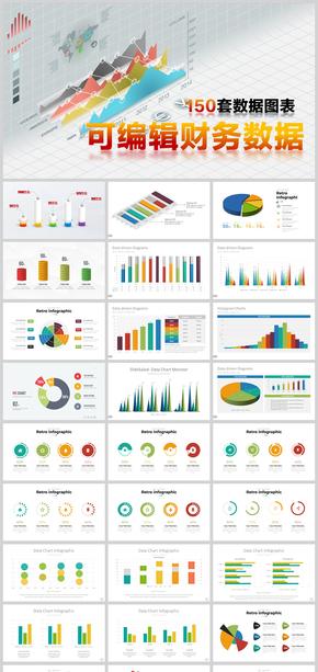 150套PPT图表立体可编辑数据图表合集
