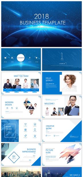 【语图影像】75P高端蓝色欧美风商务简约占位符模版