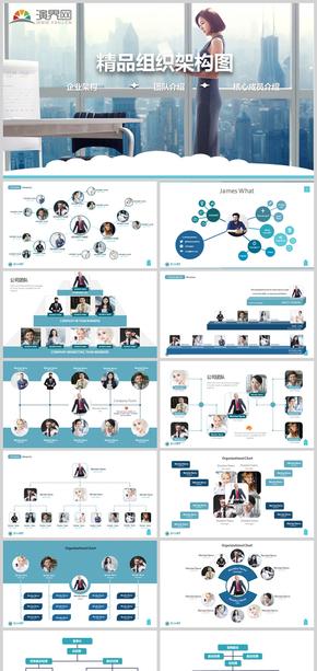 商務通用企業組織架構團隊介紹PPT模板