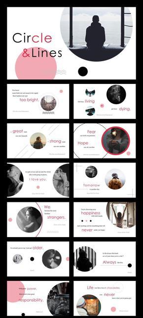 黑红大圆时尚排版杂志风画册经典英文电影台词 (一键换图)