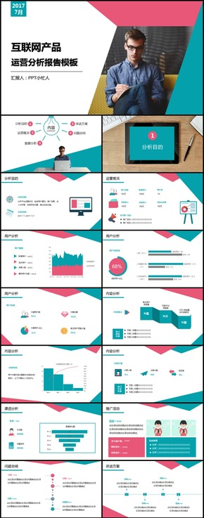 网站/电商/APP运营分析报告模板(红蓝搭配)