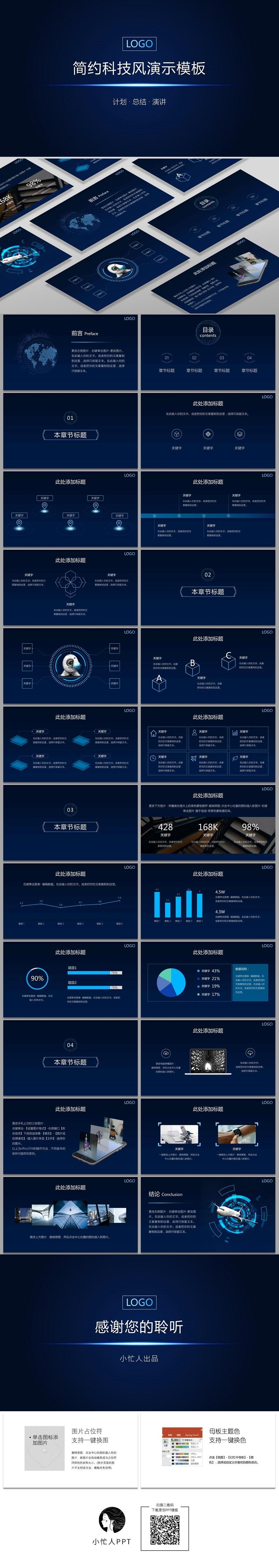 蓝色科技风IT互联网工作计划总结公司简介项目介绍论坛演讲模板