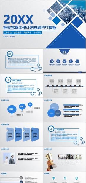 框架完整的工作报告商务汇报新年工作计划年中年终工作总结工作汇报述职报告ppt模板