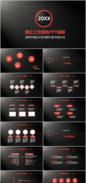 质感黑红工作报告PPT模板