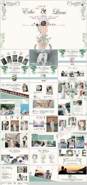 欧式花纹结婚恋爱婚礼纪念相册PPT模板