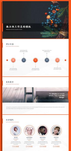 微立体橙色工作总结创业计划书PPT模板