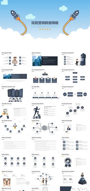 【炫酷图表】营销数据分析PPT模板