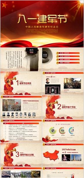 高档中国八一建军节政府共产党军队工作汇报总结演讲简约简洁大气国际化宏观风格中国风类模板