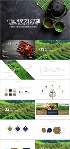 简约中国风茶文化茶韵工作汇报工作报表投资计划ppt模版