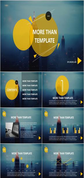 科技感黄色圆形三角形未来计划书商务汇报工作总结报告工作汇报ppt模版