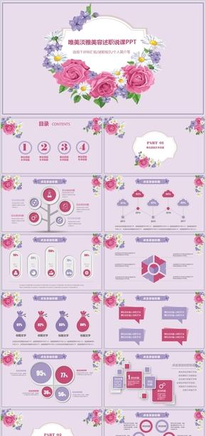 粉色唯美花朵清新美术美容述职报告工作计划工作汇报总结汇报年度总结ppt模版