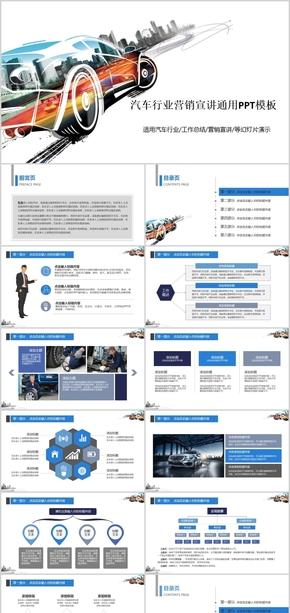 创意汽车行业营销报告汽车营销汽车宣传ppt模版