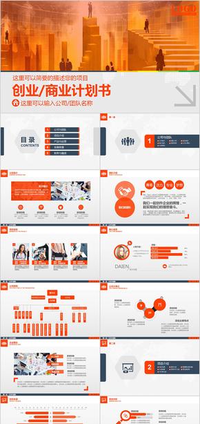 金色创业融资企业介绍商业计划书商业合作计划书PPT模板