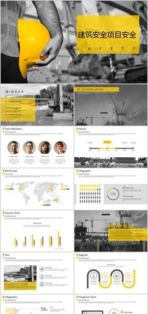 黄色简约建筑建设项目工程施工安全ppt模版