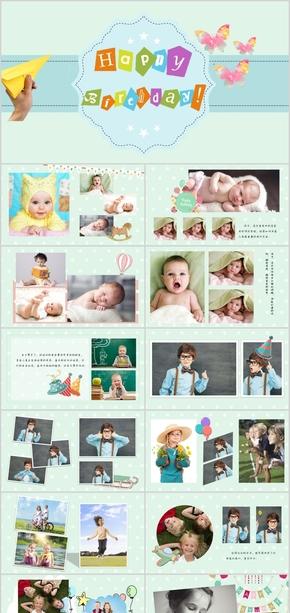 儿童生日快乐祝福照片墙生日祝贺纪念ppt模版