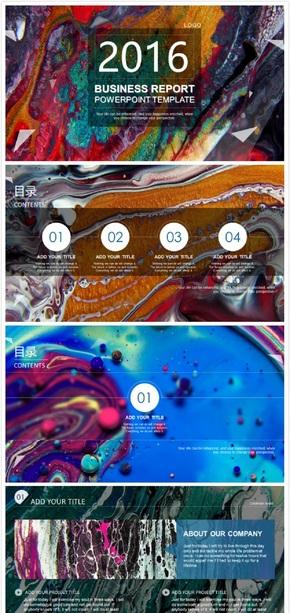 液体彩虹视频动态背景工作总结艺术展示ppt模板(妖艳贱货静态背景)