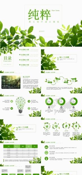 夏日绿叶-游记、总结、环保主题PPT