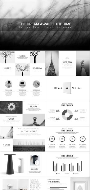 素雅黑白灰-扁平化高雅图文排版商务文艺PPT模板-有点冷淡