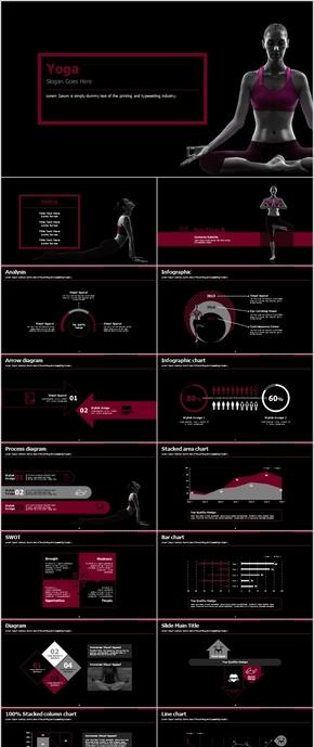 酷黑典雅瑜伽健身项目创业计划PPT模板