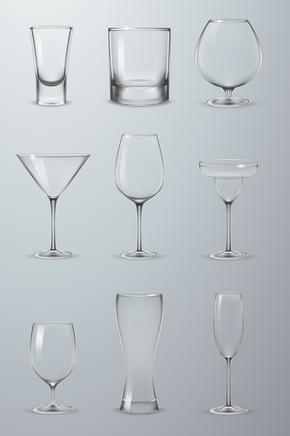 超逼真透明玻璃杯矢量AI素材