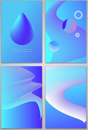 清新几何流体渐变背景-AI矢量格式4张