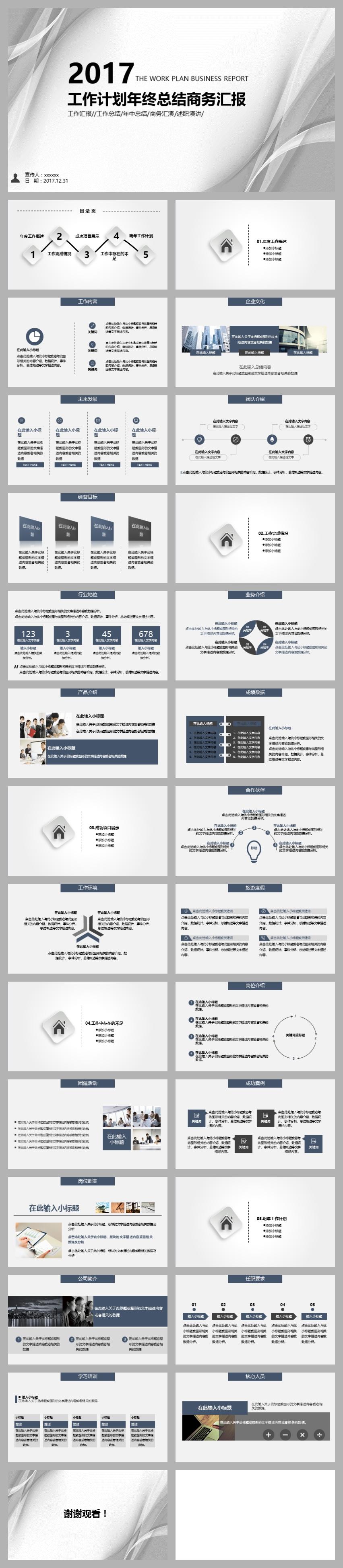 工作总结会议报告ppt模板