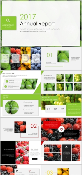 水果清凉彩色通用PPT模板