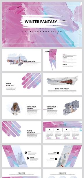 创意油彩粉蓝撞色PPT模板