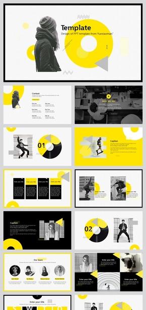 黑黄时尚几何欧美风PPT模板