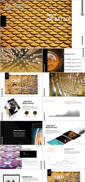 金色時尚高端廣告設計極簡潔雜志風歐美工作產品介紹匯報PPT模板
