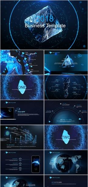 蓝色数字科技数据信息总结汇报商务产品发布动态ppt模板