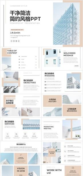 干净简洁简约风格公司介绍总结商务PPT模板