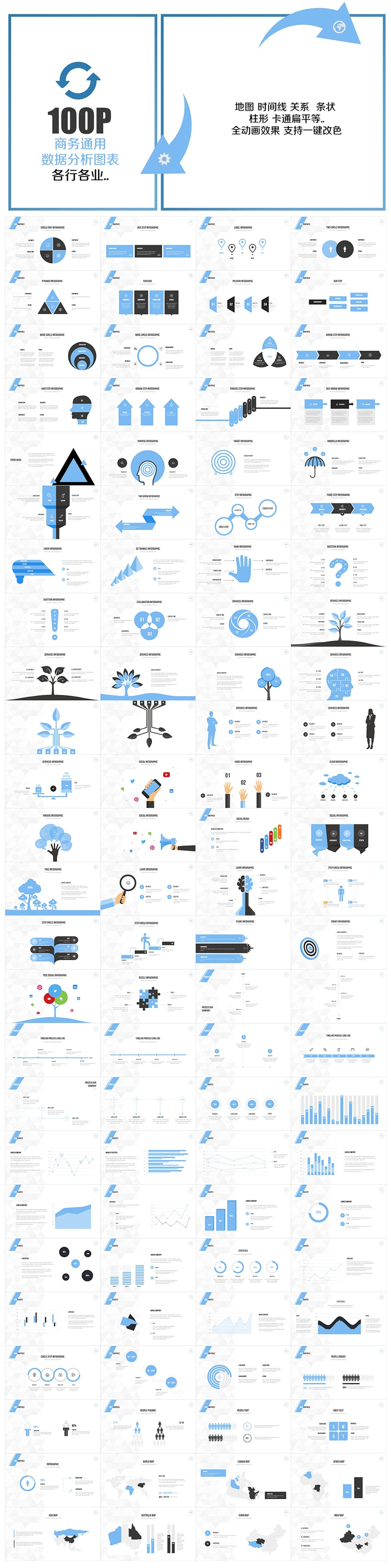 ppt图表 黑金大气商务ppt模板 蓝色商务信息图表合集ppt  作品标签